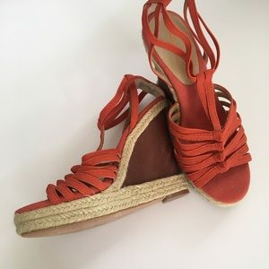 Orange Levity Strappy Wedges Sandals New W/O Tags